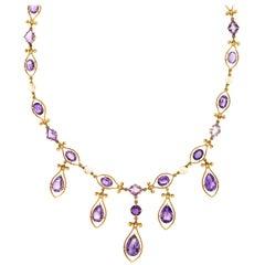 Antique Victorian 18 Karat Gold Amethyst Seed Pearl Fringe Necklace