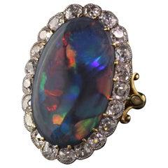 Antique Victorian 18 Karat Gold and Platinum Old Mine Cut Diamond Black Opal R