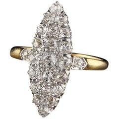 Antique Victorian 18 Karat Gold and Platinum Old Mine Cut Diamond Shield Ring