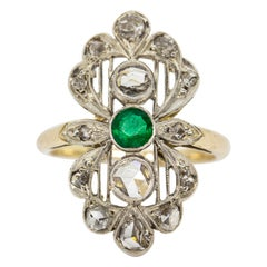 Antique Victorian 18 Karat Gold and Silver Diamond and Emerald Ring
