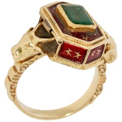 Antique Victorian 18 Karat Gold, Emerald and Enamel Snuff, Poison, Locket Ring