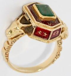 Antique Victorian 18 Karat Gold, Emerald and Enamel Snuff, Poison, Locket Ring