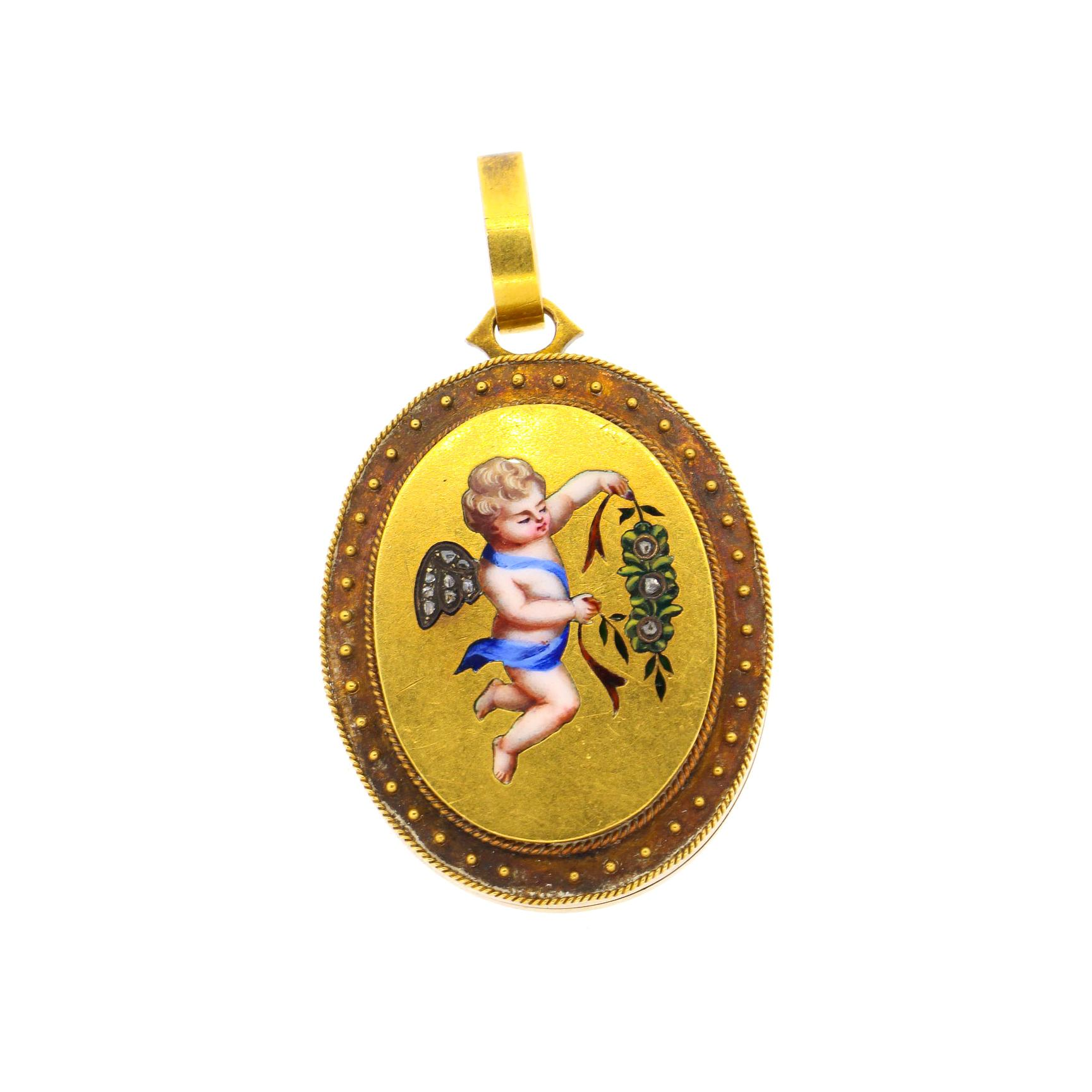 Antique Victorian 18 Karat Gold Enamel Rose Cut Diamond Cherub Locket