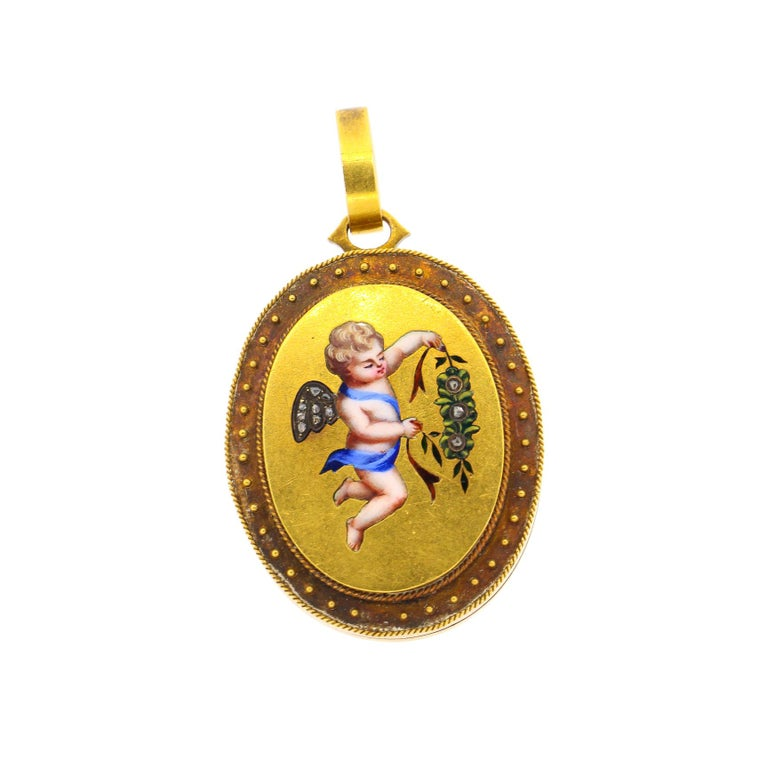 Antique Victorian 18 Karat Gold Enamel Rose Cut Diamond Cherub Locket For Sale