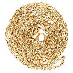 Antique Victorian 18 Karat Gold Fancy-Link Guard Chain Necklace