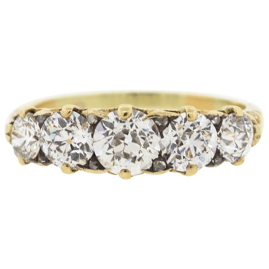 Antique Victorian 18 Karat Gold Five-Stone Diamond Ring