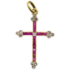 Antique Victorian 18 Karat Gold Natural Rubies and Diamonds Cross