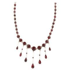 Antique Victorian 18 Karat Gold Perpignan Garnet Fringe Necklace
