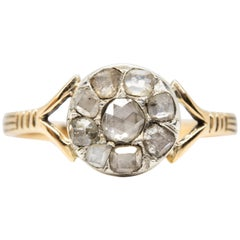 Georgian Stye 18 Karat Gold Rose Cut Diamond Ring