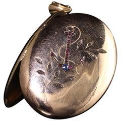 Antique Victorian 18 Karat Gold Rose Cut Diamond Ruby Sapphire Anchor Locket