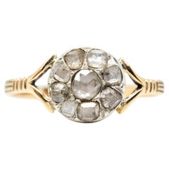 Antique Victorian 18 Karat Gold Rose Cut Diamonds Ring