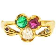 Antique Victorian 18 Karat Gold Ruby Diamond Emerald Fede Ring
