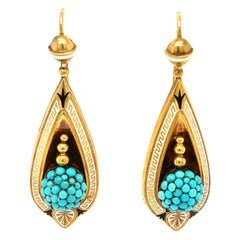 Antique Victorian 18 Karat Gold Turquoise Enamel Pendant Earrings