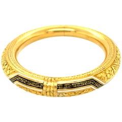 Antique Victorian 18 Karat Gold White Black Enamel Engraved Bangle Bracelet