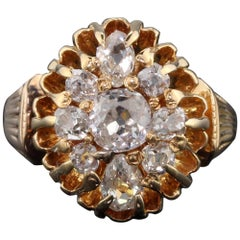 Antique Victorian 18 Karat Rose Gold and Old Cut Diamond Cluster Ring