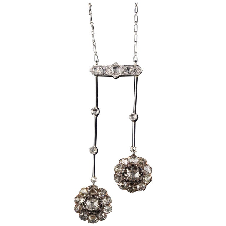 Antique Victorian 18 Karat Rose Gold Old Mine Cut Diamond Necklace For Sale