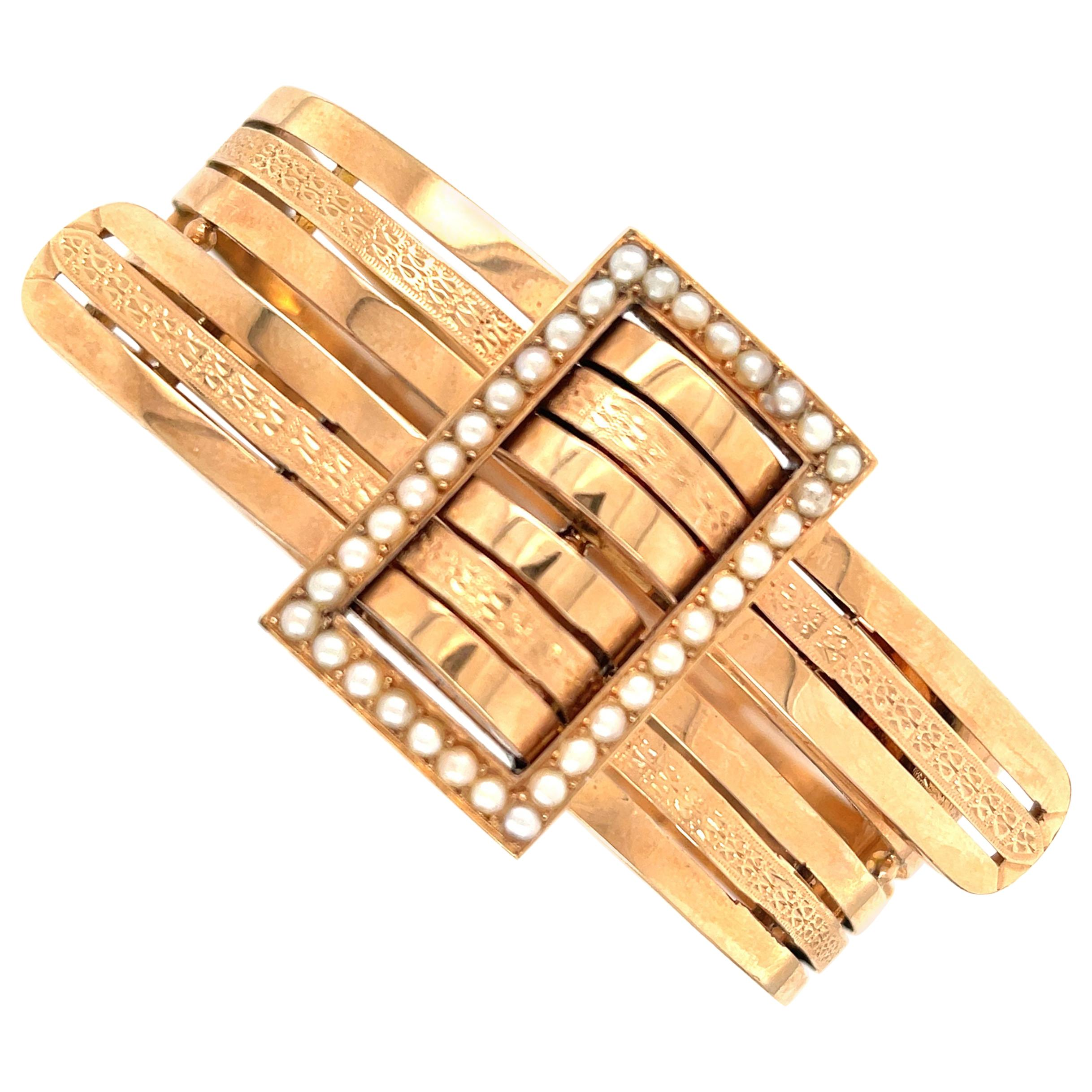 Antique Victorian 18 Karat Rose Gold Pearl Bypass Bangle Bracelet