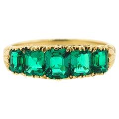 Antique Victorian 18 Karat Square Cut Emerald Five-Stone Ring