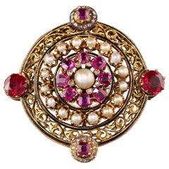 Antique Victorian 18 Karat Yellow Gold Black Enamel Ruby Pearl Diamond Pin