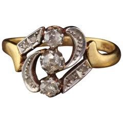 Antique Victorian 18 Karat Yellow Gold Diamond 3-Stone Vertical Ring