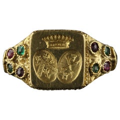 Antique Victorian 18 Karat Yellow Gold Emerald and Ruby Ring