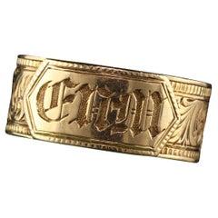 Antique Victorian 18 Karat Yellow Gold Engraved Mourning Ring