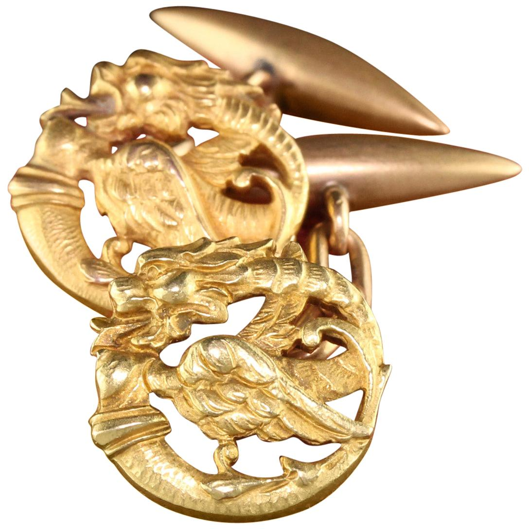 Antique Victorian 18 Karat Yellow Gold Griffin Cufflinks