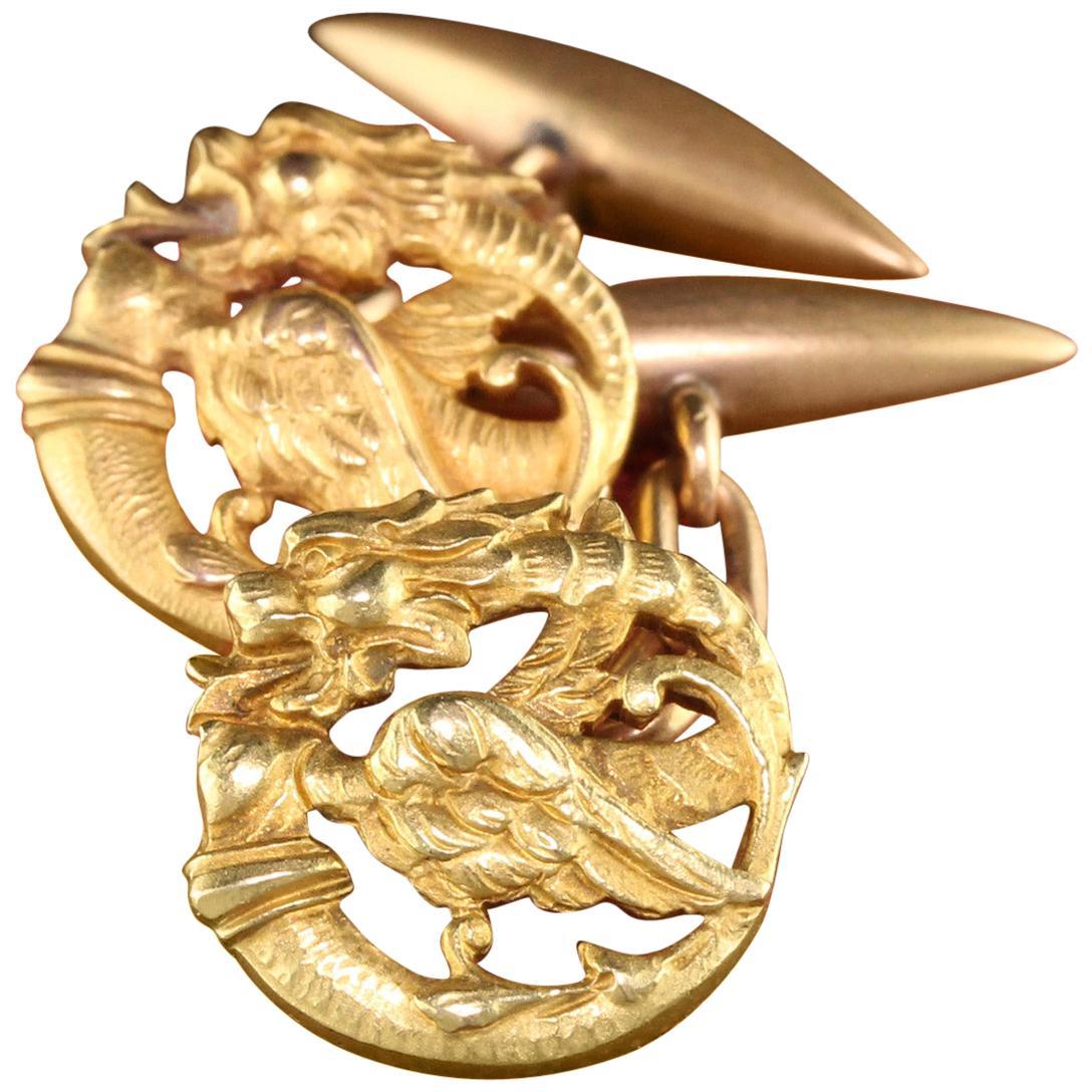 Antique Victorian 18 Karat Yellow Gold Griffin Cufflinks