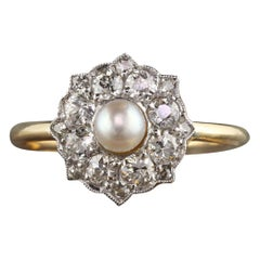 Antique Victorian 18 Karat Yellow Gold Old Euro Cut Diamond and Pearl Ring