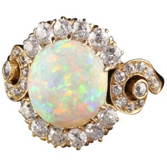Antique Victorian 18 Karat Yellow Gold Old Mine Diamond and Opal Ring