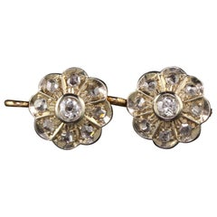 Antique Victorian 18 Karat Yellow Gold Platinum Top Diamond Cluster Earrings
