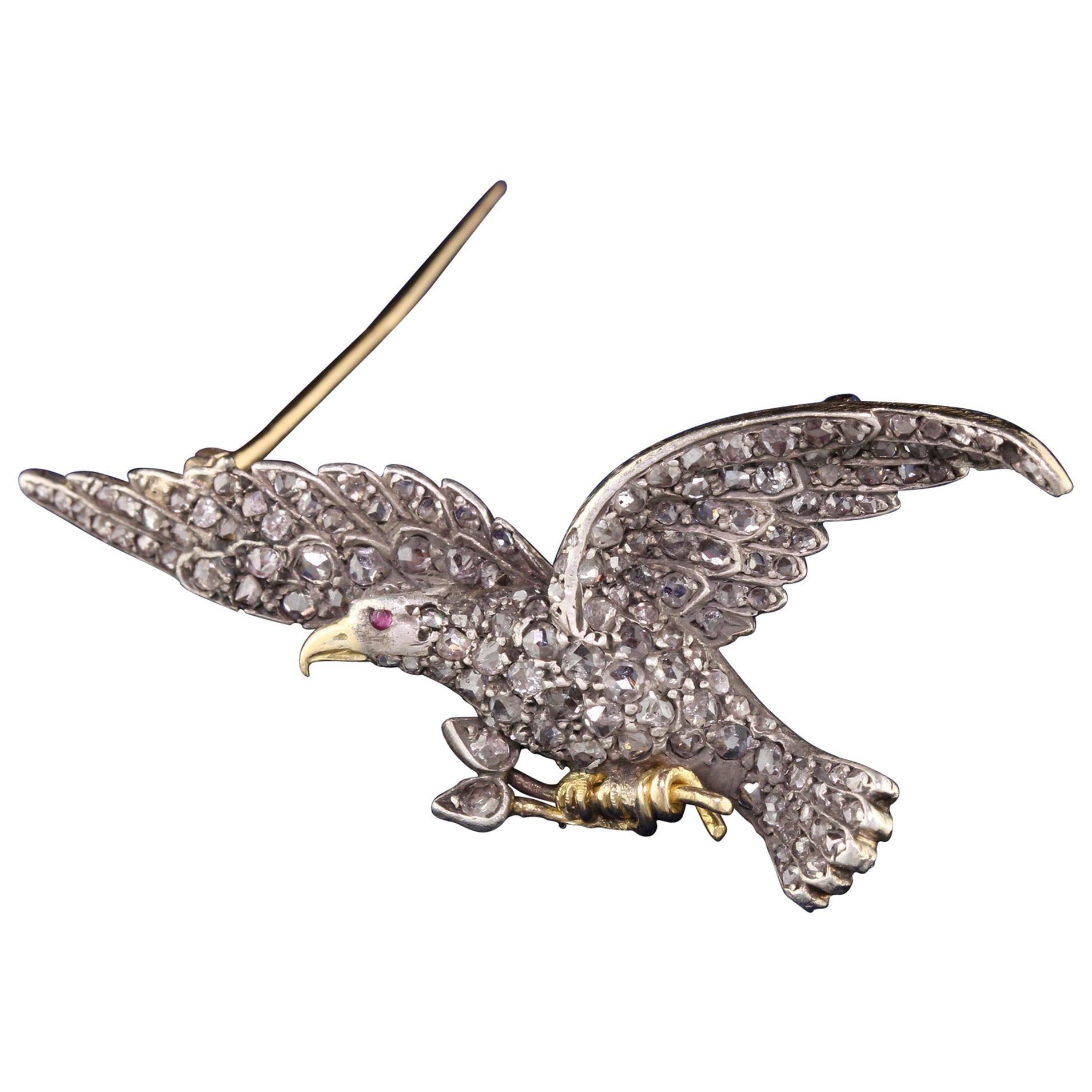 Antique Victorian 18 Karat Yellow Gold Rose Cut Diamond Eagle Pin
