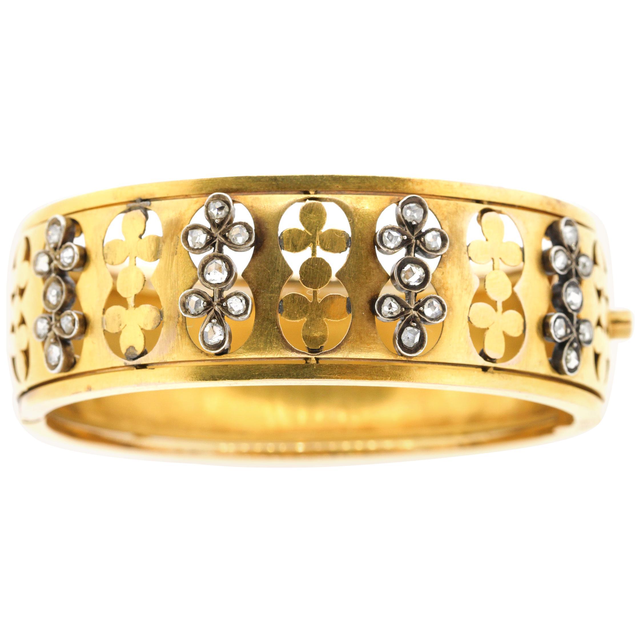 Antique Victorian 18  Karat Yellow Gold Rosecut Diamond Bangle Bracelet