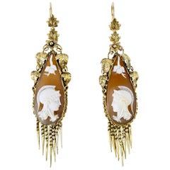 Antique Victorian 18 Karat Yellow Gold Shell Cameo Drop Earrings