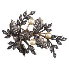 Antique Victorian 18 Karat Yellow Gold Silver, Rose Cut Diamond and Pearl Brooch