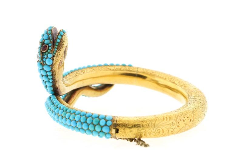Late Victorian Antique Victorian 18 Karat Yellow Gold Turquoise Diamond Snake Bangle Bracelet For Sale