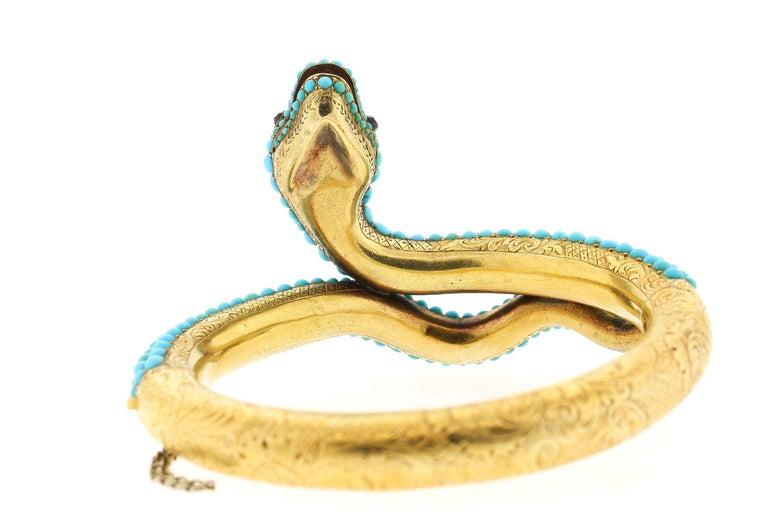 Old European Cut Antique Victorian 18 Karat Yellow Gold Turquoise Diamond Snake Bangle Bracelet For Sale