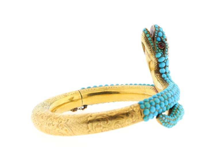 Antique Victorian 18 Karat Yellow Gold Turquoise Diamond Snake Bangle Bracelet In Good Condition For Sale In New York, NY
