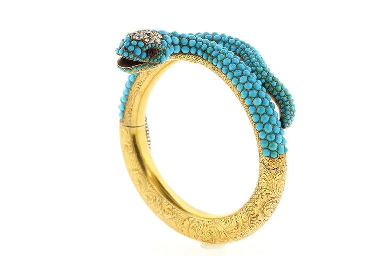 Antique Victorian 18 Karat Yellow Gold Turquoise Diamond Snake Bangle Bracelet For Sale 2