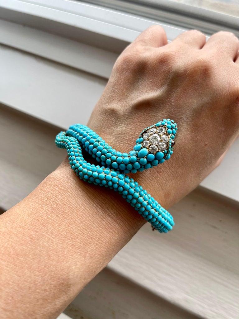 Antique Victorian 18 Karat Yellow Gold Turquoise Diamond Snake Bangle Bracelet For Sale 3