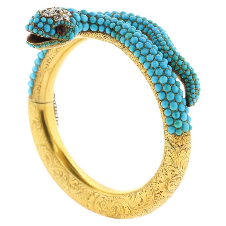 Antique Victorian 18 Karat Yellow Gold Turquoise Diamond Snake Bangle Bracelet For Sale
