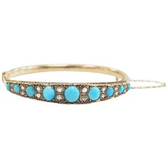 Antique Victorian 1800s Bangle with Turquoise, Rose Cut Diamonds, 14 Karat