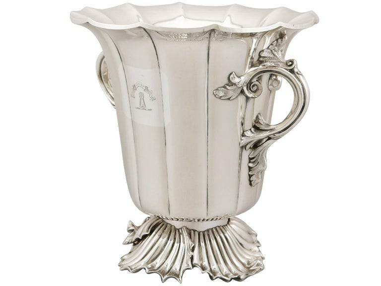 Silver Antique Victorian 1848 Pair of Old Sheffield Plate Wine Coolers For Sale