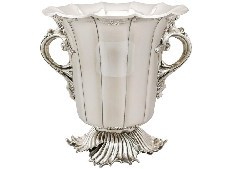 Antique Victorian 1848 Pair of Old Sheffield Plate Wine Coolers For Sale 2