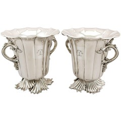 Antique Victorian 1848 Pair of Old Sheffield Plate Wine Coolers