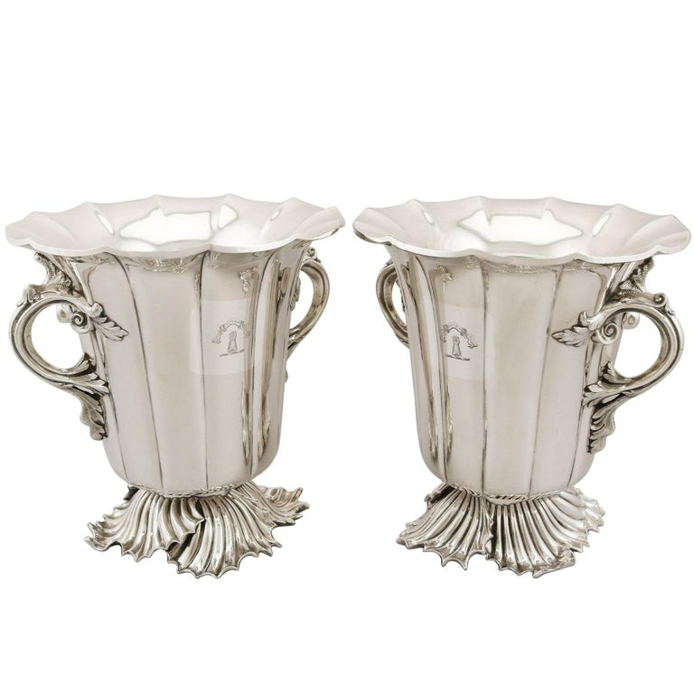 Antique Victorian 1848 Pair of Old Sheffield Plate Wine Coolers For Sale