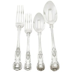 Antique Victorian 1850s Sterling Silver Flatware Service