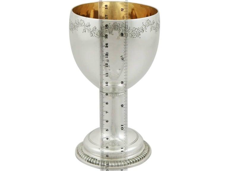 Antique Victorian 1850s Sterling Silver Goblet For Sale 4