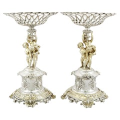 Antique Victorian 1860s Sterling Silver Centrepieces by Alexander Macrae