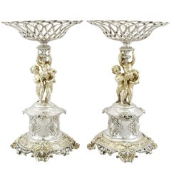 Antique Victorian 1860s Sterling Silver Centrepieces